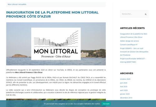 Webinaire «inauguration d'une plate-forme en ligne concernant le littoral en PACA»